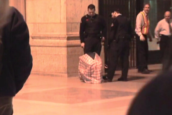 Stefanie Trojan performing Die Tasche / The Bag at Union Station Toronto