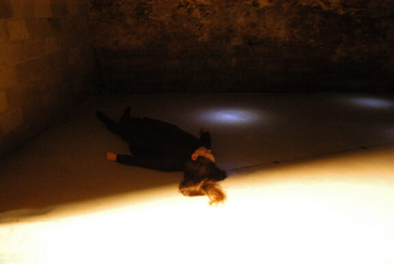 Marilyn Arsem performing untitled at XPACE Cultural Centre