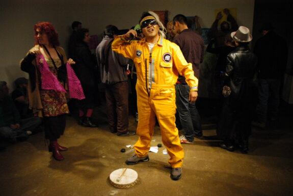 Gustavo Alvarez Lugo (Musgus) performing Chabochi (reflective action) at Toronto Free Gallery