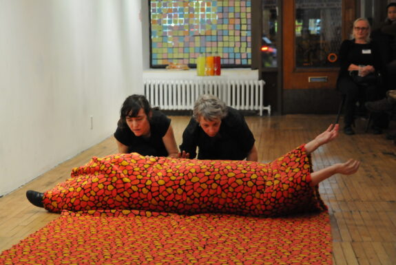The TouVA Collective (Sylvie Tourangeau, Victoria Stanton, and Anne Bérubé) performing 'The 7th Sense' at Toronto Free Gallery.