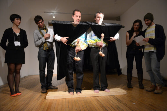 Carl Bouchard and Martin Dufrasne performing at Toronto Free Gallery