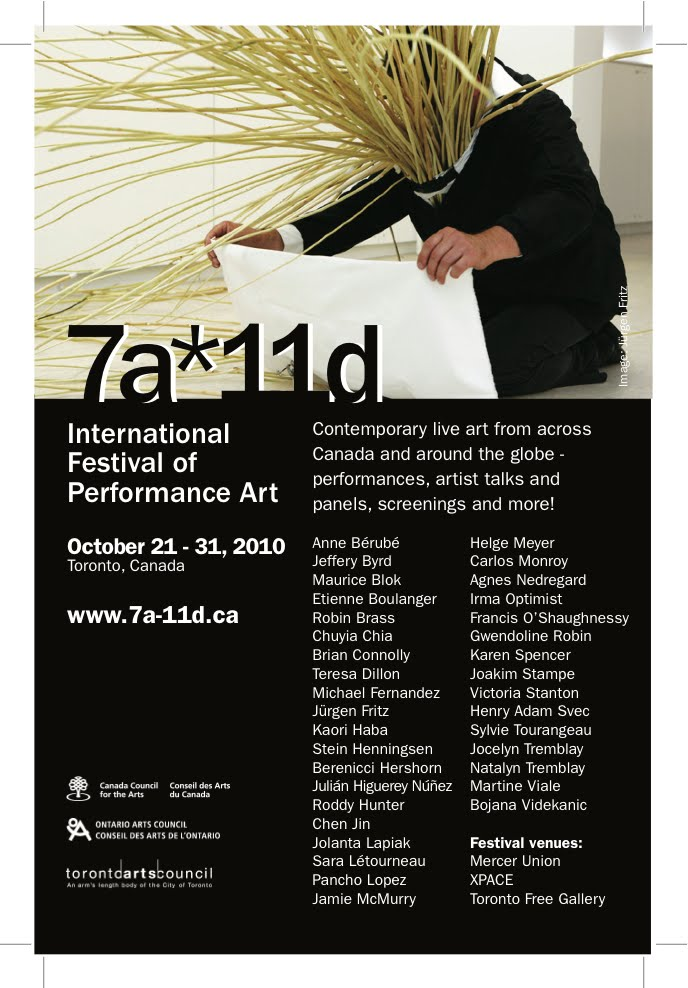 10th edition 7a*11d Internation Festival of Performance Art 2014 Poster