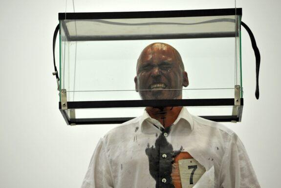 Helge Meyer performing Penumatic Vision: Cut at Mercer Union