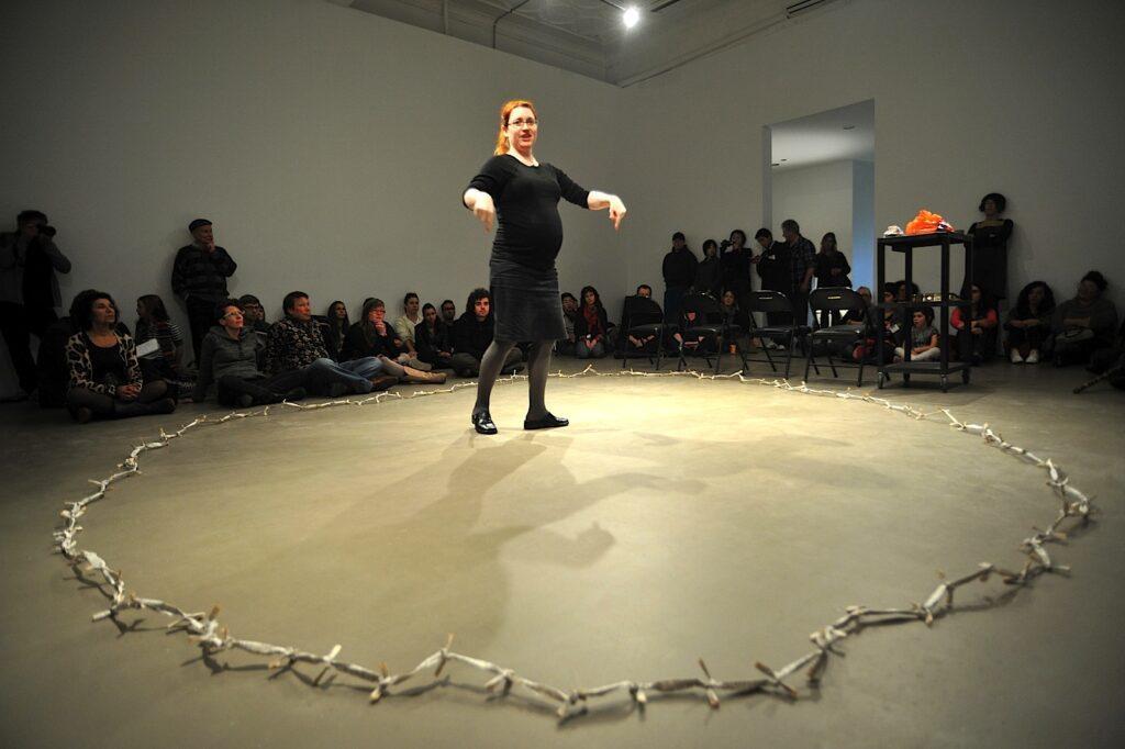 Jolanta Lapiak performing De-Hearingization at Mercer Union