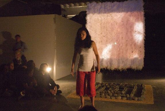 Claudia Bernal performing Chamanika Urbana at XPACE