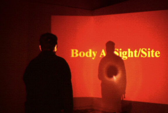 Pam Patterson performing Body as Site/Sight at A Space