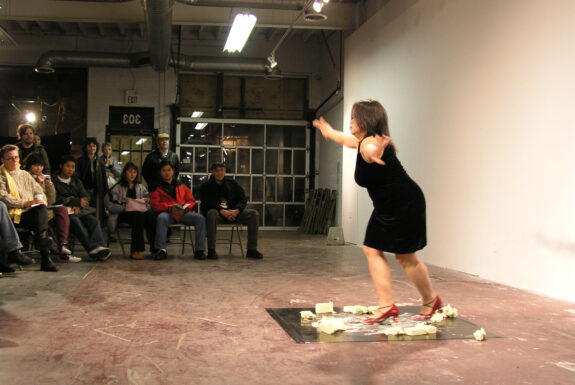 Melati Suryodarmo performing EXERGY—butter dance at XPACE