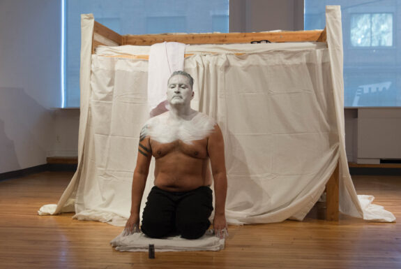 Adrian Stimson performing 150 Blows at OCAD U Graduate Gallery