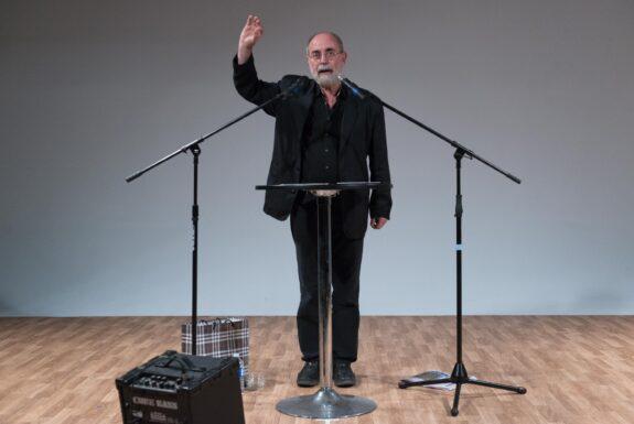 Bartolomé Ferrando performing Sound performance with newspaper | Sound performance with little objects at Geary Lane