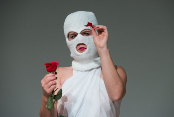 Kate Barry performing Justice (After Margaret Dragu) at Geary Lane