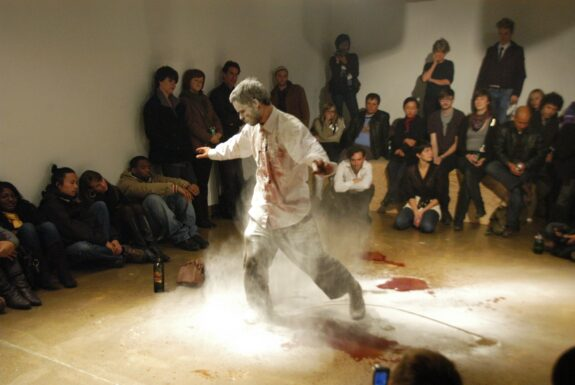 Christian Messier performing untitled at XPACE Cultural Centre