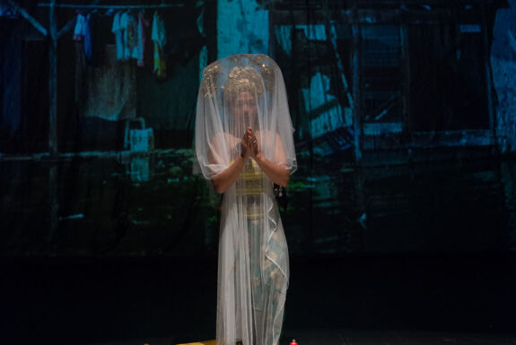 Arahmaiani performing Handle Without Care at the Theatre Centre