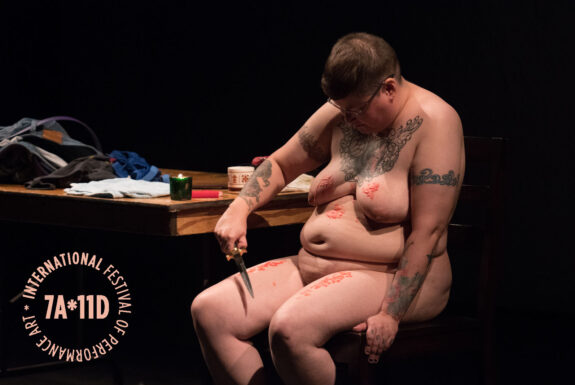 Thirza Jean Cuthand performing Love Is The Only Socially Acceptable Psychosis at the Theatre Centre