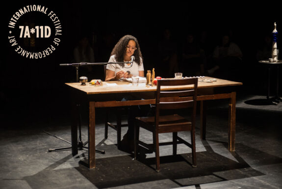 Erika DeFreitas performing nothing ever so straight at the Theatre Centre