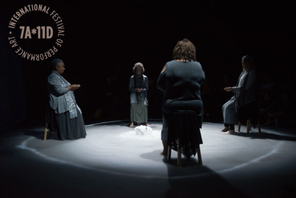 Sandra Vida with Lillian Allen, Anne-Marie Bénéteau and Cat Cayuga performing Vigil: Field of Crones at the Theatre Centre