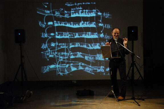 Nicola Frangione performing Voice in Movement at XPACE Cultural Centre