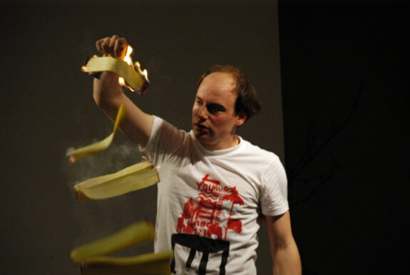 Francis Arguin performing Introduction to the body-orchestra at XPACE Cultural Centre
