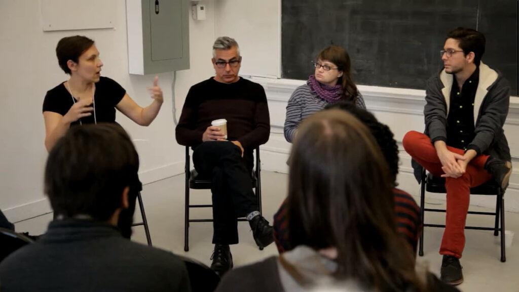 Moderator Bojana Videkanic, Gary Varro, Anya Liftig, and Christian Bujold at Performance Art Daily - Approaching architecture artist panel, October 31 2014